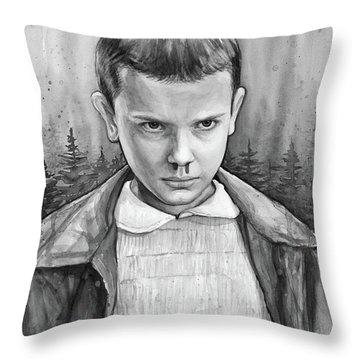 Stranger Things Fan Art Eleven Throw Pillow by Olga Shvartsur