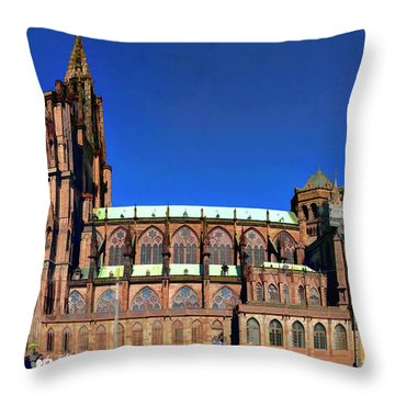 Throw Pillow featuring the photograph Strasbourg Catheral by Alan Toepfer