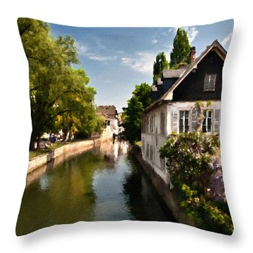 Strassbourg Faux Oil Painting Throw Pillow by Endre Balogh