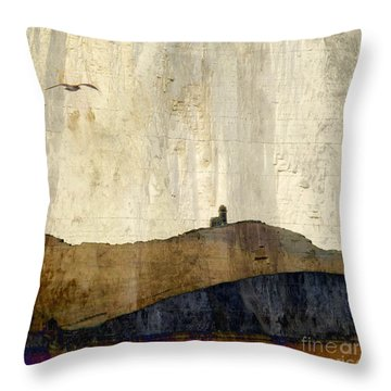 Strata With Lighthouse And Gull Throw Pillow
