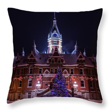 Stratford City Hall Christmas Throw Pillow