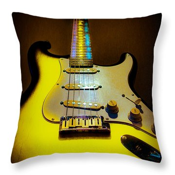 Stratocaster Lemon Burst Glow Neck Series Throw Pillow