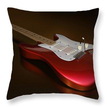 Stratocaster On A Golden Floor Throw Pillow