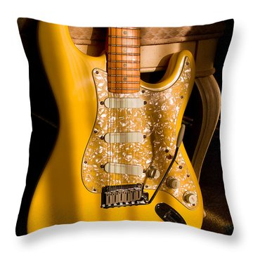 Stratocaster Plus In Graffiti Yellow Throw Pillow