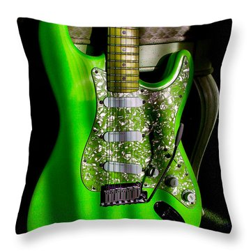 Stratocaster Plus In Green Throw Pillow