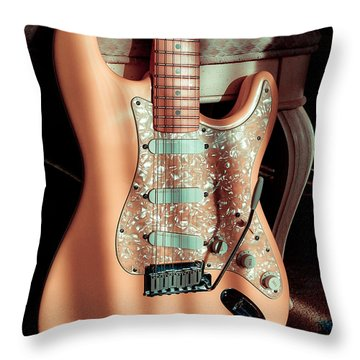 Stratocaster Plus In Shell Pink Throw Pillow