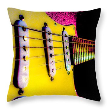 Stratocaster Pop Art Pink Fire Neck Series Throw Pillow