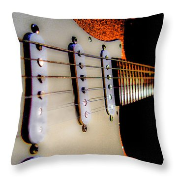 Stratocaster Pop Art Tangerine Sparkle Fire Neck Series Throw Pillow