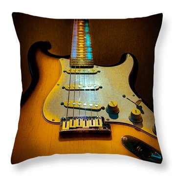 Stratocaster Tobacco Burst Glow Neck Series  Throw Pillow