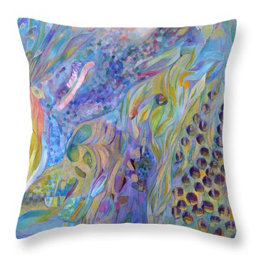 Throw Pillow featuring the painting Stratosphere by Linda Cull