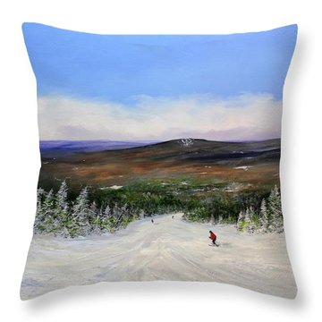 Throw Pillow featuring the painting Stratton Ski Trail by Ken Ahlering