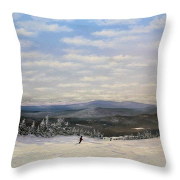 Throw Pillow featuring the painting Stratton Skiing by Ken Ahlering