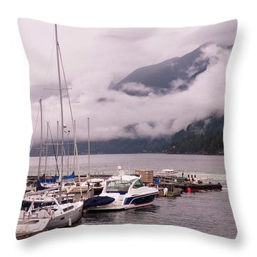 Stratus Clouds Over Horseshoe Bay Throw Pillow