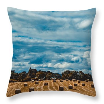 Straw Bales In A Field 2 Throw Pillow