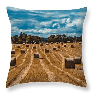 Straw Bales In A Field Throw Pillow