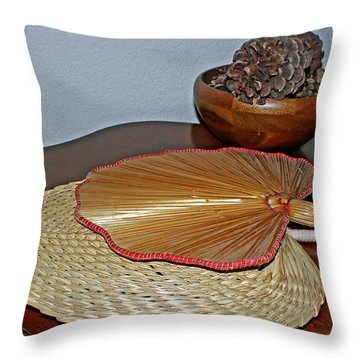 Throw Pillow featuring the photograph Straw Fans by Judy Vincent