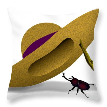 Straw Hat And Horn Beetle Throw Pillow