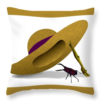 Straw Hat And Stag Beetle Throw Pillow