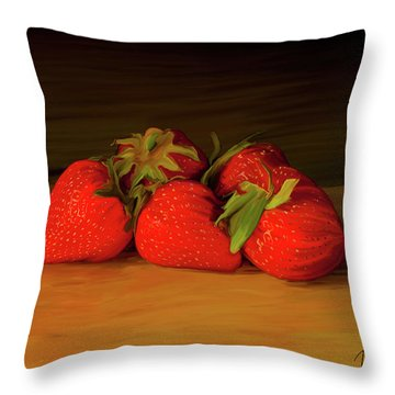 Strawberries 01 Throw Pillow by Wally Hampton