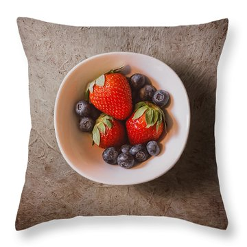 Strawberries And Blueberries Throw Pillow