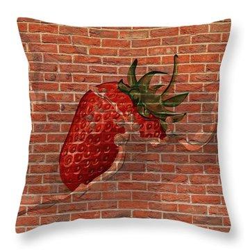 Strawberries And Cream Amazing Graffiti Throw Pillow