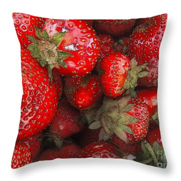 Strawberries Throw Pillow
