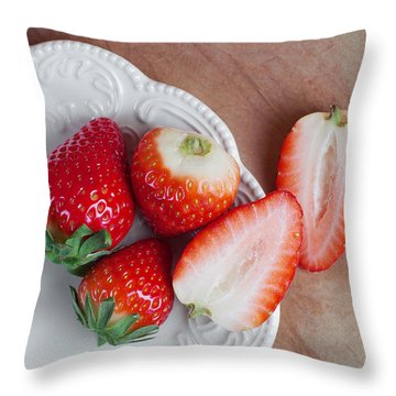Strawberries From Above Throw Pillow