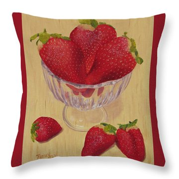 Throw Pillow featuring the painting Strawberries In Crystal Dish by Nancy Nale