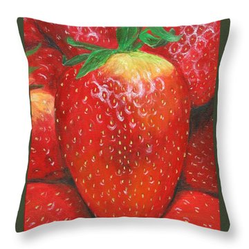 Throw Pillow featuring the painting Strawberries by Nancy Nale