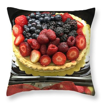 Throw Pillow featuring the photograph Strawberries Rasberries Luscious Dessert Fruit Pie With Red Bow  by Kathy Fornal