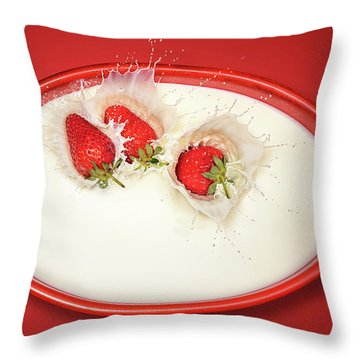 Strawberries Splashing In Milk Throw Pillow