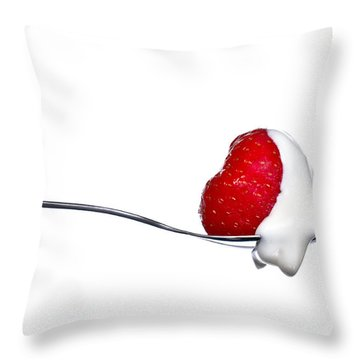 Strawberry And Cream Throw Pillow