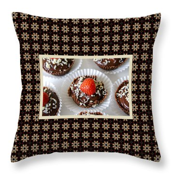Throw Pillow featuring the photograph Strawberry And Dark Chocolate Mousse Dessert by Shelley Neff