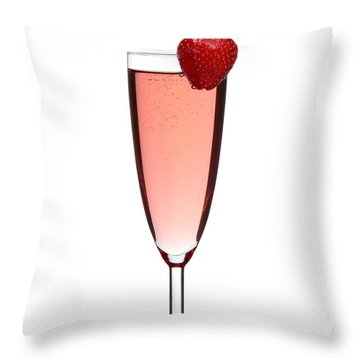 Strawberry Champagne Throw Pillow by Gert Lavsen