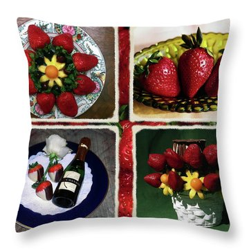 Strawberry Collage Throw Pillow by Sally Weigand