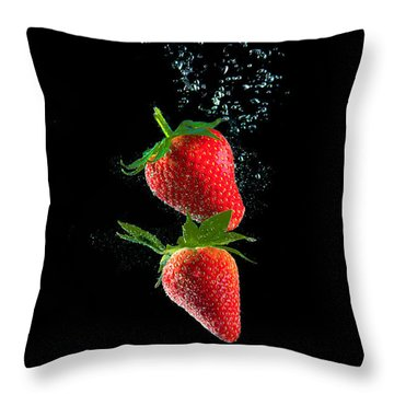 Strawberry Falls Throw Pillow