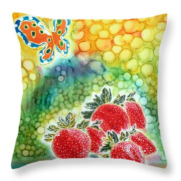 Strawberry Garden Throw Pillow by Beverly Johnson