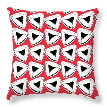 Throw Pillow featuring the mixed media Strawberry Hamentashen- Art By Linda Woods by Linda Woods