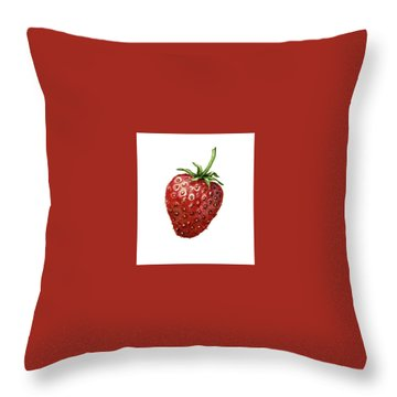Throw Pillow featuring the painting Strawberry by Heidi Kriel