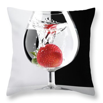 Strawberry In A Glass Throw Pillow by Oleksiy Maksymenko