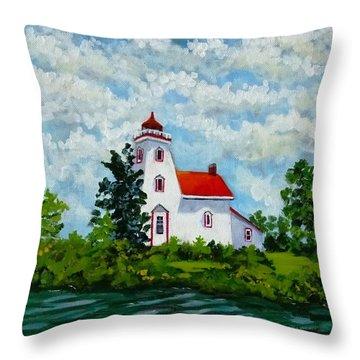 Strawberry Island Lighthouse, Manitoulin Island Throw Pillow