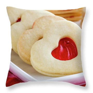 Throw Pillow featuring the photograph Strawberry Jam Filled Heart Cookies by Teri Virbickis