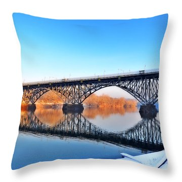Strawberry Mansion Bridge  Throw Pillow by Bill Cannon