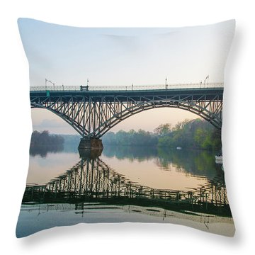 Throw Pillow featuring the photograph Strawberry Mansion Bridge In Spring by Bill Cannon