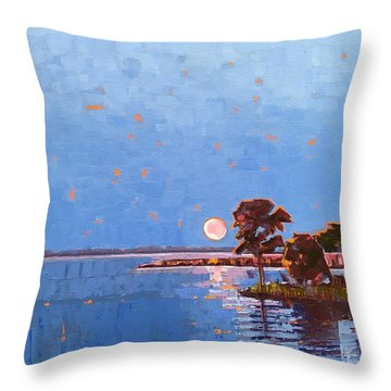 Strawberry Moon On Dymer Creek Throw Pillow