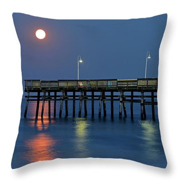 Strawberry Moon Over Sandbridge Throw Pillow