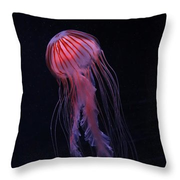 Throw Pillow featuring the photograph Strawberry Pink Jellyfish - Extra Tall by Debi Dalio