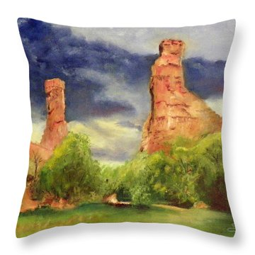 Strawberry Pinnacles Throw Pillow by Sherril Porter