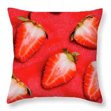 Strawberry Slice Food Still Life Throw Pillow