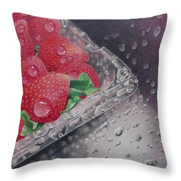 Strawberry Splash Throw Pillow by Pamela Clements